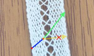 移動する際のテープ中心の糸の動き