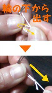 フィレの糸付けー結び目を作る場合の工程2