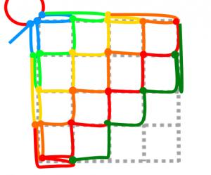 正方形の6段目(減目)