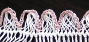 数ループまとめて中心に編みとめたもの